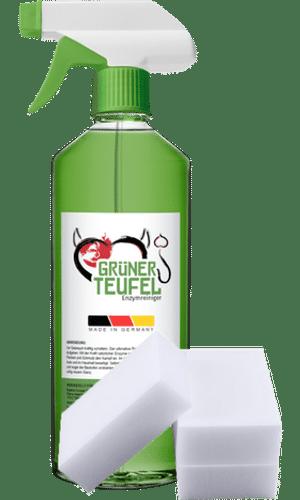 Grüner Teufel Enzymreiniger und Schwamm